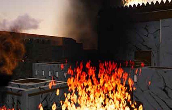 """שלשה שבועות – מי""""ז בתמוז ועד ט' באב – התנהלה מלחמה נוראה על הר הבית וסביבו. ביום כ""""ז בתמוז העלו היהודים חלק מאולמות המקדש באש, בכדי לגרם נזק רב לאויב ששהה שם. ביום ב' באב, כשכל הר הבית הוכרע בידי הרומאים, הם הגיעו לביהמ""""ק, ובמשך כל הימים עד לת""""ב נמשכו הקרבות"""